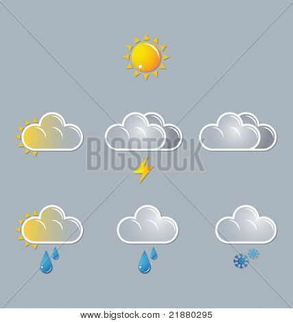 weather vector icons, sun, cloud