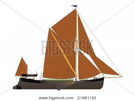 traditional Thames sailing barge