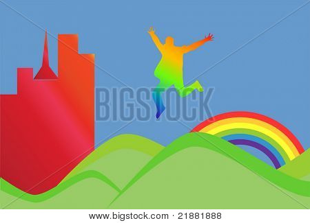 Man jumping on green hills vector illustration
