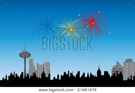 Fireworks over city silhouette