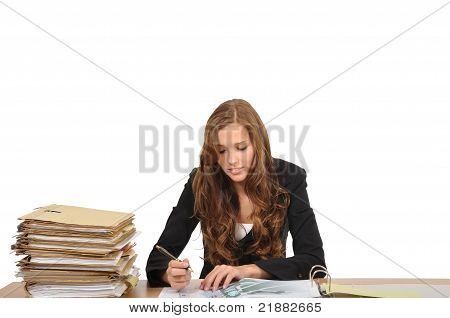 Young Woman Sitting At A Desk