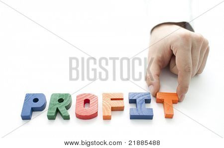 Hand and word Profit on white background