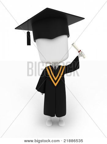 3D Illustration of a Man Proudly Raising His Diploma