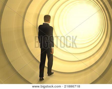 Mann zu Fuß in einem Tunnel in Richtung einer hellen Lichtquelle. Digitale Illustration.