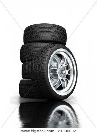 Isolated wheels on white background