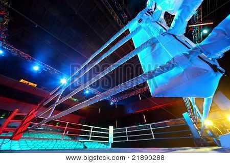 Empty ring geared-up for  fight boxers