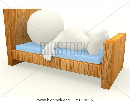 3D guy sleeping on a wooden bed - isolated over white