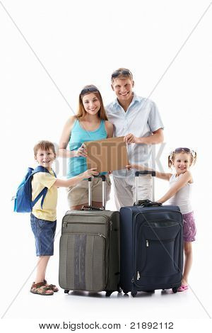 Families with suitcases holding an empty plate on a white background