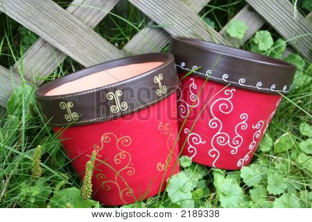 Red Flower Pots