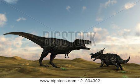 tyrannosaurus in desert attacking einiosaur