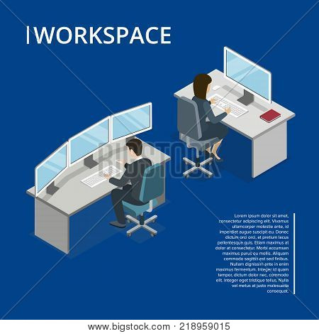 Office Workspace 3d Isometric Banner With Busy Employees Software Developer Coding Secretary Working At