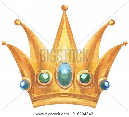 Watercolor Gold Crown
