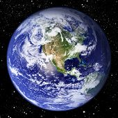 pic of planet earth  - The world seen from the western hemisphere set in space with millions of stars - JPG