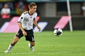 VIENNA,  AUSTRIA - JUNE 3 Philipp Lahm (#16, Germany) prepares to center the ball during the EURO 20