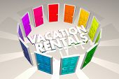 Vacation Rentals Rent Property Options Doors 3d Illustration poster