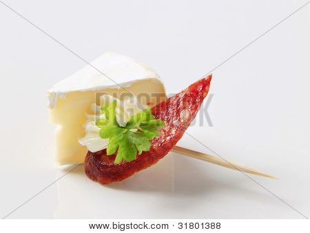 Cheese hors d'oeuvre on a stick - closeup