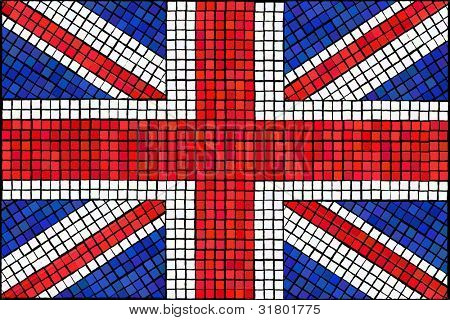 A Union Jack flag made from mosaic tiles. Also available in vector format.