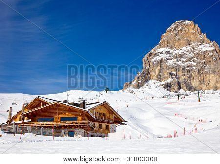 View of the Val Di Fassa ski resort in Italy
