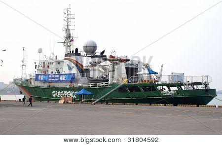 Barco de Greenpeace Esperanza en Taiwán