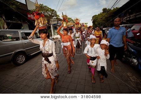 UBUD, BALI - MARCH 22: Unidentified children during the celebration of Nyepi - Balinese Day of Silence on March 22, 2012 on Bali, Indonesia. The day following Nyepi is also celebrated as New year.
