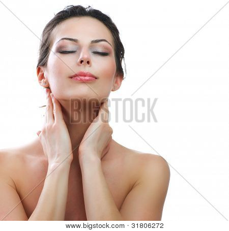 Beautiful Young Woman touching her Face. Skincare .Perfect Skin. Spa isolated on a white background