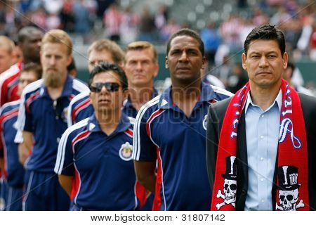 CARSON, CA. - APRIL 10:  Chivas USA head coach Martin Vasquez (R) before the Chivas USA vs New York Red Bulls match on April 10, 2010 at the Home Depot Center in Carson, Ca.