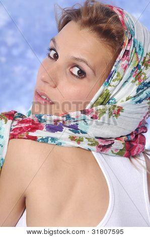 female model posing pushing hair up