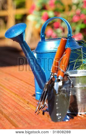 Gardening tools in garden background