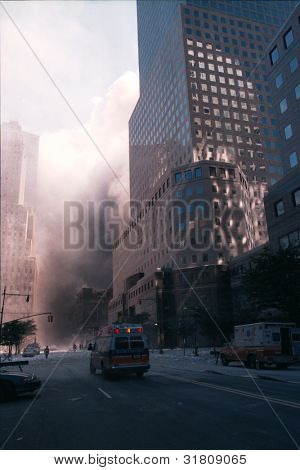 NEW YORK - SEPTEMBER 11: A New York Presbyterian ambulance moves towards the area known as Ground Zero after the collapse of the Twin Towers on September 11, 2001 in New York City.