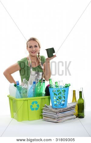 Recycling bottles and paper