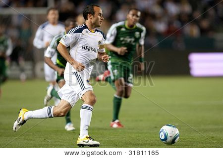 CARSON, CA. - April 23: Los Angeles Galaxy F Landon Donovan #10 during the MLS game between the Portland Timbers & the Los Angeles Galaxy on April 23 2011 at the Home Depot Center.