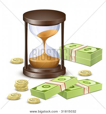 Hourglass, banknotes and coins. Time is money concept. Vector illustration