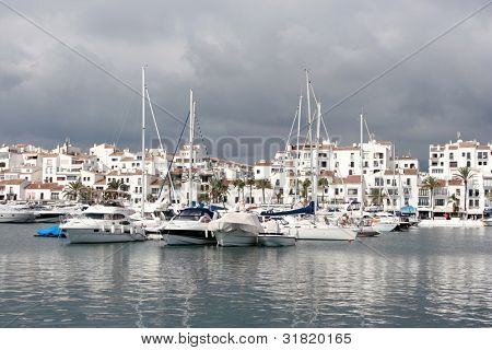 View of Puerto Banus harbour, in Marbella, Spain