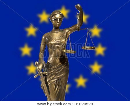 Lady of Justice on background rippled EU flag