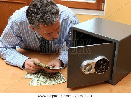 Businessman considers money