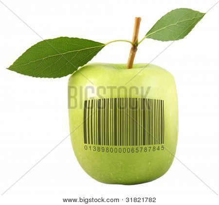 apple with a bar code