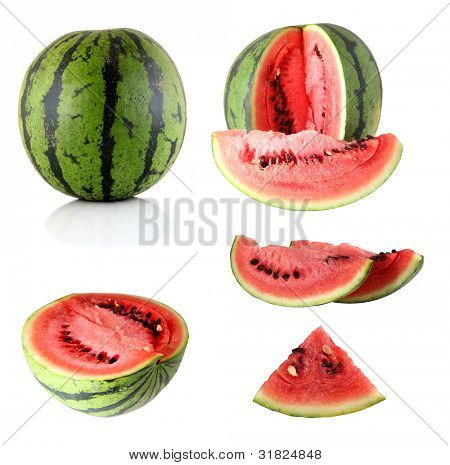 Watermelon slice detail isolated on white background