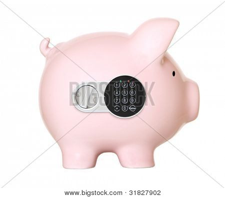 Pink piggy bank safe with the digital lock