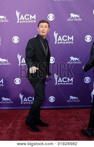 LAS VEGAS - APR 1:  Scotty McCreery arrives at the 2012 Academy of Country Music Awards at MGM Grand Garden Arena on April 1, 2012 in Las Vegas, NV.