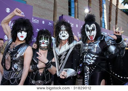 LAS VEGAS - APR 1:  KISS arrives at the 2012 Academy of Country Music Awards at MGM Grand Garden Arena on April 1, 2012 in Las Vegas, NV.