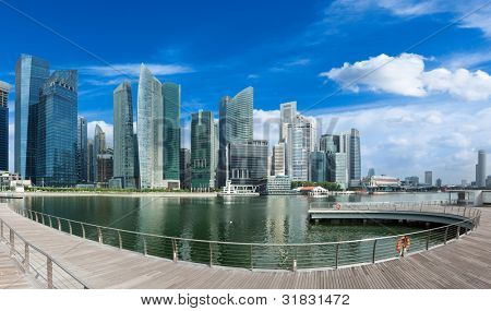 Singapore skyline of business district and Marina Bay panorama. Ultra wide angle