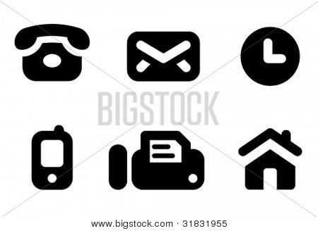 Contact information icon set: phone, mail, work time, mobile, fax and website. Aligned according to pixel grid. Specially for Web and small-sizes