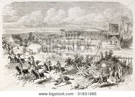 French intervention in Mexico: Creole guerrilla repulsed in Tejera railway station. Created by Janet-Lange, published on L'illustration, Journal Universel, Paris, 1863