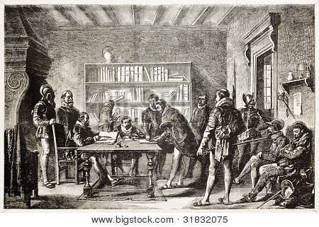 Miguel de Cervantes signing enrollment in Spanish army. Created by Zamacois, published on L'Illustration, Journal Universel, Paris, 1863