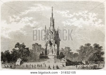Albert memorial old view, London. Created by Blanchard, published on L'Illustration, Journal Universel, Paris, 1863