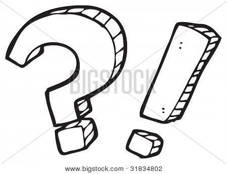 cartoon question mark and exclamation mark