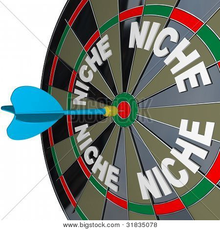 A blue dart hits a bulls-eye to find a unique Niche market with words representing several niches on a dartboard, how to find customers in unique demographic groups with accurate targeted marketing