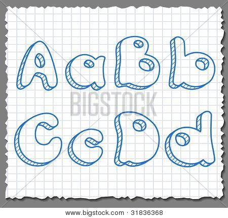 Vector sketch 3d alphabet letters - ABCD