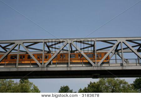 U-Bahn Train Crossing Bridge