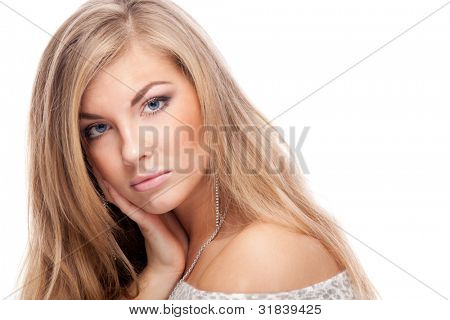 Woman. Isolated over white.